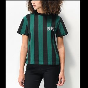Ragged Jeans Green & Black Striped Cropped Tee